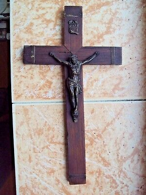 Antique Metal on Olives Wood Crucifix Cross Jesus Wall Hanging Brass Marquetry