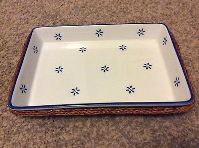 Oven Proof Rectangular Dish Blue Flowers Wicker Holder Oven To Table Serving