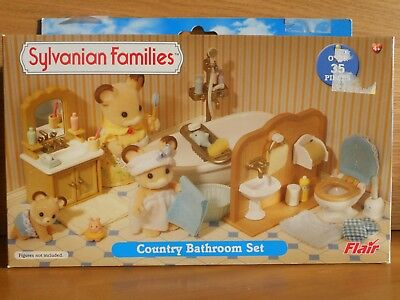 Sylvanian Families Country Bathroom Bath Toilet Sink Toy Accessories Set Boxed