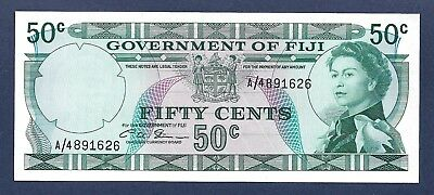 [AN] QEII Government of Fiji 50 Cents 1971 P64b UNC