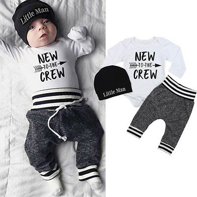 Newborn Baby Boy Clothes Letter Print Romper Tops +Long Pants+Hat 3PCS Outfits