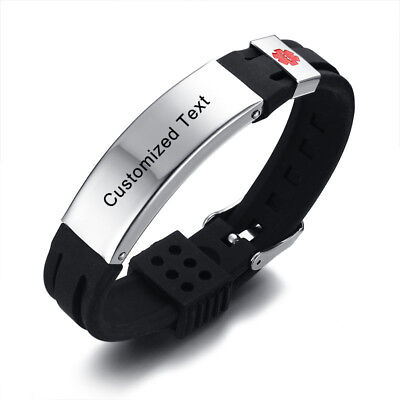 Adjustable Kids Teen Medical Alert ID Aid Bracelet ICE Wristband Free Engraving