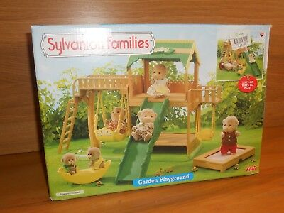 Sylvanian Families Garden Playground Slide Swing Trampoline Toy Figure Set Boxed
