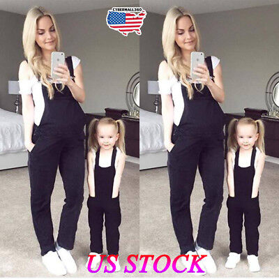 Women's Maternity Jumpsuit Loose Pants Overalls Black Loose Harem Trousers Pants