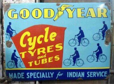 Vintage Goodyear tire goodyear bicycle tyres.enamel porcelain sign