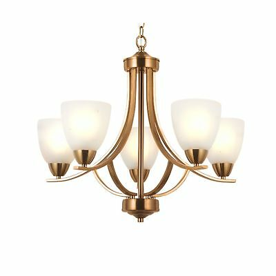 VINLUZ 5 Light Contemporary Chandeliers Brushed Brass Modern Ceiling Light Fi...