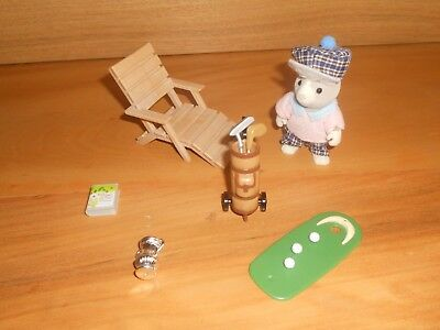 Rare Sylvanian Families Grandfather at Home Golf Tailbury Toy Figure Set