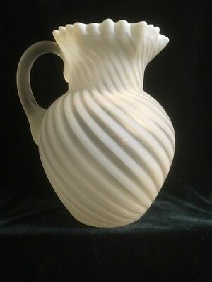 Northwood White Opalescent Swirl Water Pitcher ~ Frosted ~ Crimped Hex Top