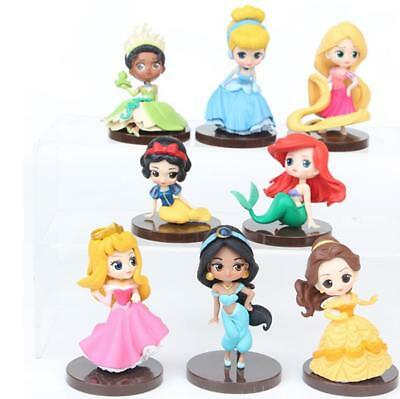 New 8pcs/set Q Posket Princesses Toys Dolls Tiana Snow White Rapunzel!!!!No Box!