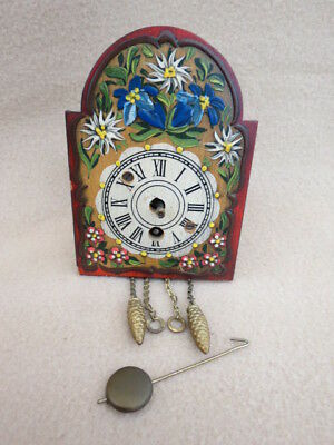 Small Vintage Black Forest Novelty Shield Dial Clock For Spares Repair
