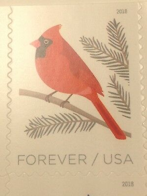 1 Single New USPS Forever One Ounce Postage Stamp - Cardinal Bird - Christmas
