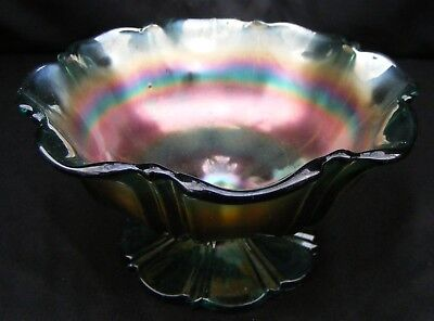 "Indiana Iridescent Green Luster Carnival Glass Hard Candy Pedestal 5.5"" Bowl"