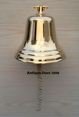 "Antique Vintage Style Brass Ship Bell w/ Lanyard 7"" ~ Nautical Ships Decor Gift"