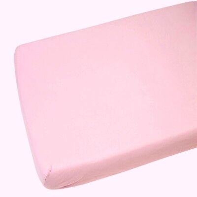 2 x 100 % Cotton Soft Cot Bed Fitted Sheets 140 x 70 cm - Pink