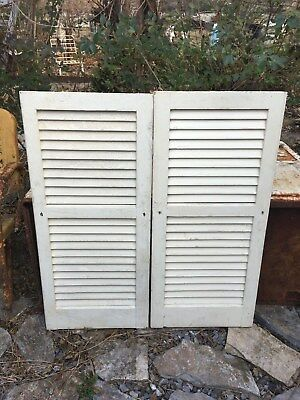 Vtg  Pair Architectural Salvage  Louvered Shutters clothing screen wedding 40x18