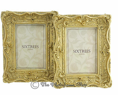 TWO Sixtrees Chelsea Shabby Chic Ornate Antique Gold 6x4 inch Photo frames