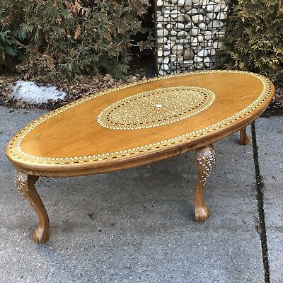 """Moroccan Middle Eastern 45"""" Oval Bone Inlaid Coffee Table Cabriole Leg Vintage"""