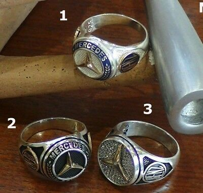 Turkish Handmade 925 Sterling Silver Mercedes BENZ Symbol Logo Ring All Sizes