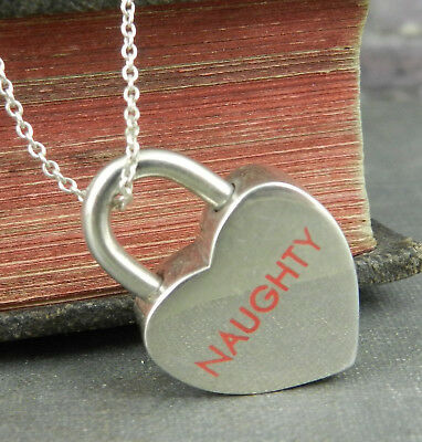 Tiffany & Co. 925 Sterling Silver Naughty or Nice Heart Padlock Necklace