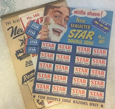 Store display original box & 20 STAR razors NEW OLD STOCK Brooklyn Vintage NOS
