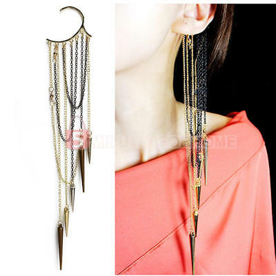 Gothic Punk Rock Spike Long Dangle Chain Tassel Ear Bone Cuff Wrap Clip E UYX