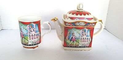 Vtg Romeo And Juliet Sadler 4445 Teapot Tea Pot with Bone China Cup from England