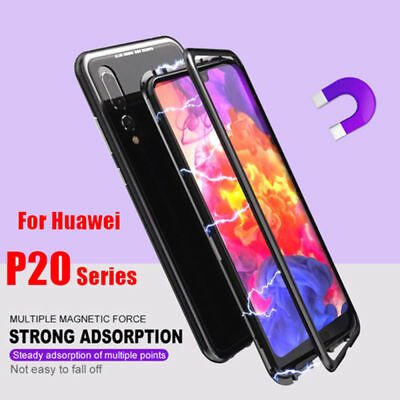 Magnetic Absorption Metal Bumper Glass Case Cover for Huawei P20 Pro Lite
