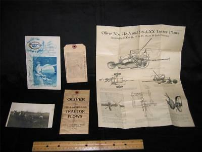 Oliver Chilled Plow Works -  4 Pieces  And One Old Post Card