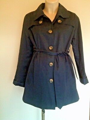 Mamalicious Maternity Navy Lightweight Mac Trench Coat Jacket Size M Uk 10-12