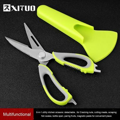 Kitchen Scissors Magnetic Knife Seat Removable Stainless Steel Scissors 7 In 1
