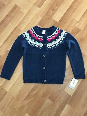 Carter's 4T Super Soft Navy Blue & Pin Button Down Cardigan - NWT