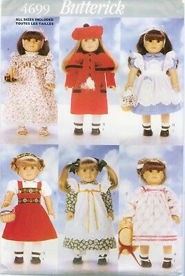 Butterick 4699 18 inch DOLL Clothes 6 outfits sewing pattern UNCUT FF VTG 1996