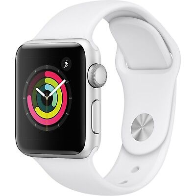 Apple Watch Gen 3 Series 3 38mm Silver Aluminum - White Sport Band MTEY2LL/A