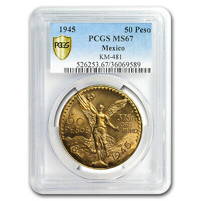 1945 Mexico Gold 50 Pesos MS-67 PCGS (Finest Known) - SKU#179036