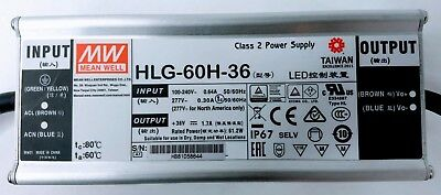 Meanwell Class 2 LED Power Supply HLG-60H-36, New In Box!