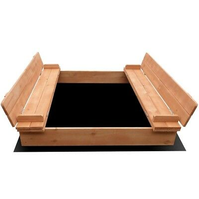Keezi Sandpit Toy Box Kids Square Sand Pit Wooden Outdoor Play Set Large Seat