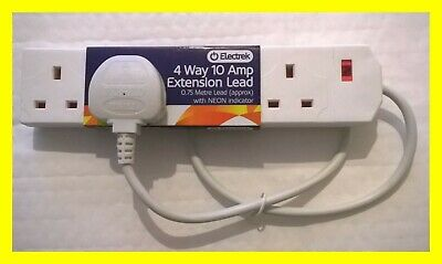 3/4 Way PLUG SOCKET ADAPTOR Mains Extension SHORT Cable Lead TV Video Electric