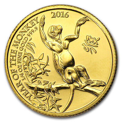 2016 Great Britain 1/4 oz Gold Year of the Monkey BU - SKU #151054