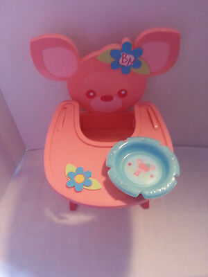 Baby alive 2007 rare pink fawn deer high chair & dish