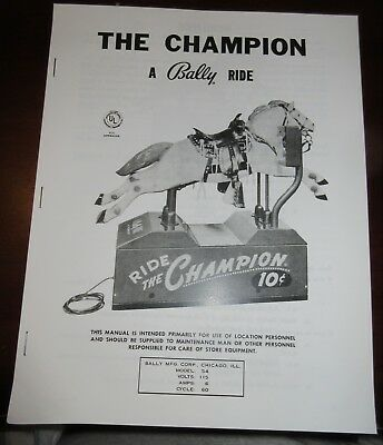 Ride The Champion Coin Operated Horse Installation and Service Manual. Bally