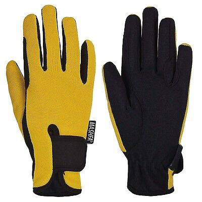 (Age 8-10 years, Yellow) - Kids Horse Riding Gloves Children Equestrian