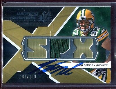 Jordy Nelson Signed 2008 SPx Jersey Relic Card Authentic Autograph Auto *Creased