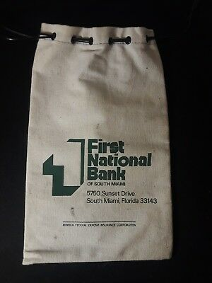 Vintage First National Bank of South Miami Florida Canvas Draw String Bank Bag
