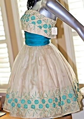 Vintage 50s 100% Silk Organza Floral Embroidered Prom Party Dress