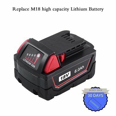 6000mAH for Milwaukee XC 18V Lithium Battery for M18 M18B 48-11-1850 48-11-1852