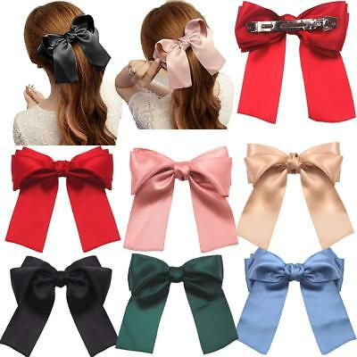 """6 Pcs 5.5"""" Large Oversize Soft Silky Hair Bows Clip Lolita Party Girl Woman hair"""