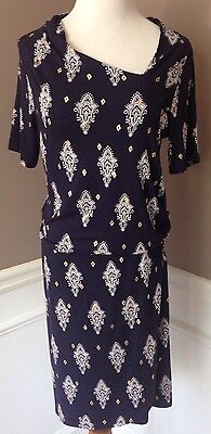 NWT Hatley  XS Navy, White, Gold Short Sleeve Asymmetric Neckline Shift Dress