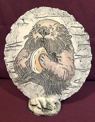 """Vtg SEA OTTER 3-D Etched Resin Or Sandstone 8"""" Art Placque W/Stand, Mint!"""