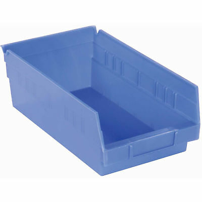 "Akro-Mils 30130 Plastic Shelf Bin Nestable - 6-5/8""W x 11-5/8""D x 4""H Blue, Lot"