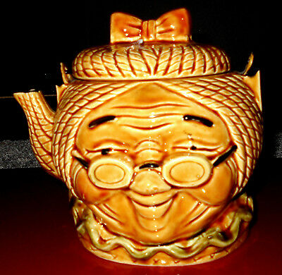 Vintage Little Old Lady Face Teapot Made In Japan 6 1/2'' Long